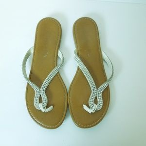 Shoes - Silver Beaded Slip On Thong Sandals Size 7.5